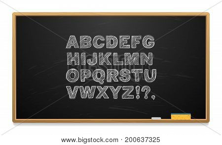 School board with alphabet written in chalk. Wooden frame. Chalk and sponge. Vector illustration