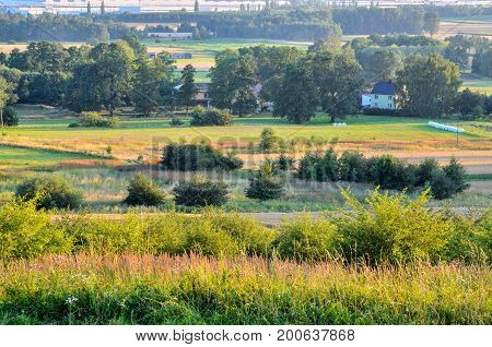 Summer rural landscape. Homes in the polish countryside.