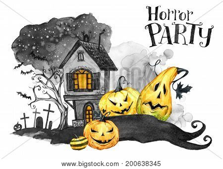 Watercolor landscape. Old house, cemetery and holidays pumpkins. Halloween holiday illustration. Magic, symbol of horror. Scary Night. Can be use in holidays design, posters, invitations, cards