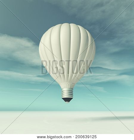 Conceptual image of a flying bulb. This is a 3d render illustration