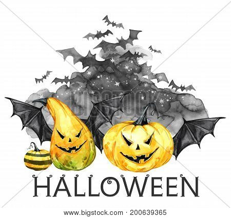 Watercolor scary night, flock of bats and holidays pumpkins. Halloween holiday illustration. Magic, symbol of horror. Vampires. Can be use in holidays design, posters, invitations, cards