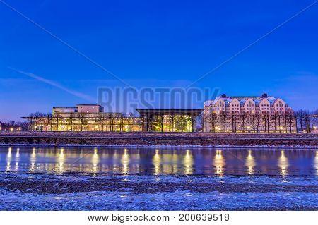 Buildings At Elbe River Bank In Dresden