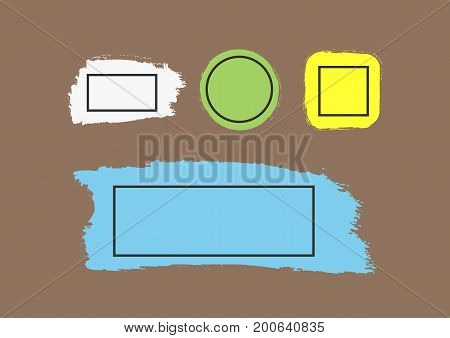 Brushstrokes with frames for text. Set of color grunge backgrounds. White green yellow blue texture isolated on brown background. Vector illustration.