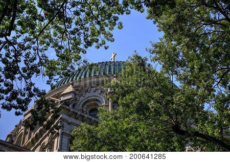St. Louis Missouri USA - August 18 2017: The Cathedral Basilica of Saint Louis on Lindell Boulevard in St. Louis Missouri.