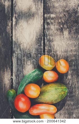 Farm to table vegetables on rustic wood background, copy space, top view. Organic farming. Harvest at agricultural production business.
