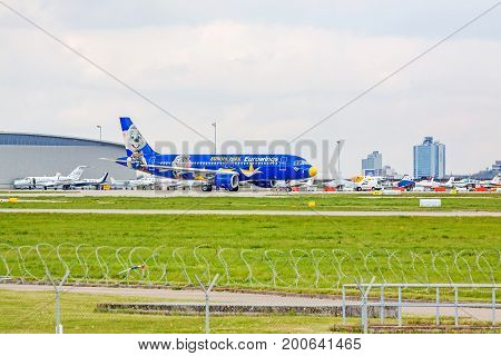 Airplane Airbus A319 At Ground, Airport Stuttgart, Germany