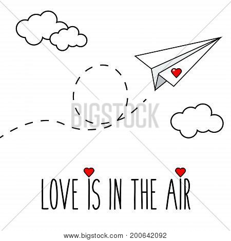 Flying hand drawn paper plane with heart. Romantic, valentine card. Printable illustration.