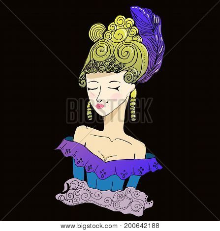 Vector rococo doodle girl wearing big hairstyle and shoulder open dress on black background.