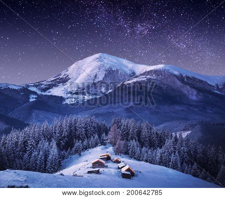 Mountain Village In Light Of Rising Moon