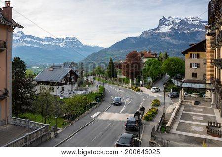 SAINT-GERVAIS-LES-BAINS FRANCE - APRIL 20 2016: Panoramic view of Saint-Gervais-les-Bains and Alps the highest and most extensive mountain range system that lies entirely in Europe