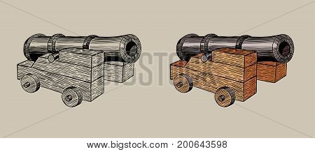 old cannon on a carriage, hand ink drawing together with painted variant