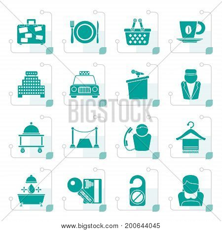 Stylized Hotel and motel services icons - vector icon set