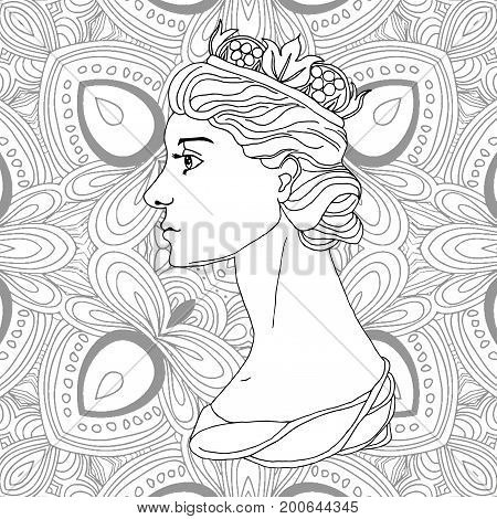 Vector uncolored queen with crown and beautiful hairstyle.