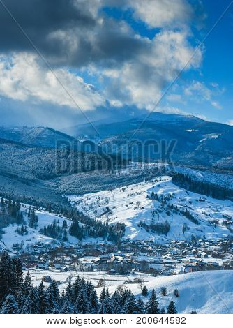 Panorama Of Carpathian Valley Covered By Snow