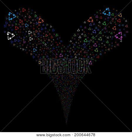 Recycle Triangle fireworks stream. Vector illustration style is flat bright multicolored iconic recycle triangle symbols on a black background. Object fountain created from random symbols.