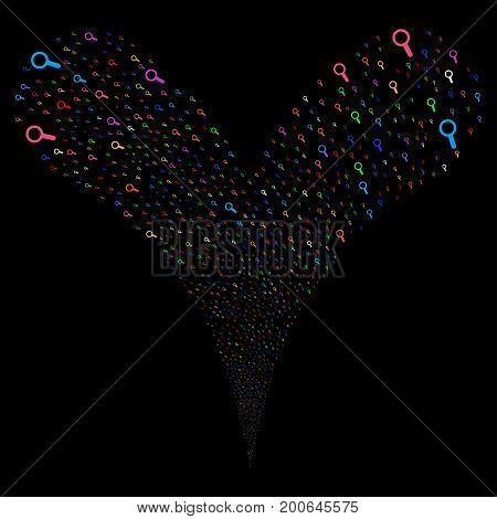 Search explosive stream. Vector illustration style is flat bright multicolored iconic search symbols on a black background. Object fountain done from random pictograms.