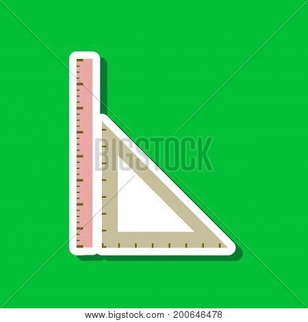 paper sticker on stylish background of ruler