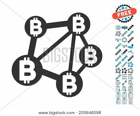 Bitcoin Network pictograph with bonus crypto currency pictograph collection. Vector illustration style is flat iconic symbols, modern colors.