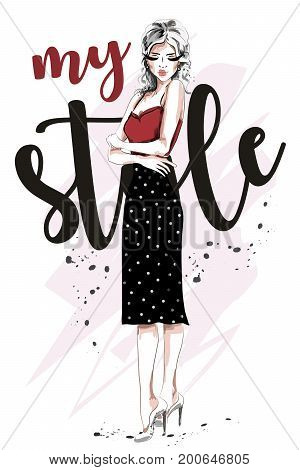 Beautiful young woman in fashion clothes. Hand drawn blonde hair fashion woman. Sketch. Vector illustration.