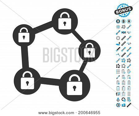 Blockchain Network icon with bonus smart contract pictures. Vector illustration style is flat iconic symbols, modern colors.