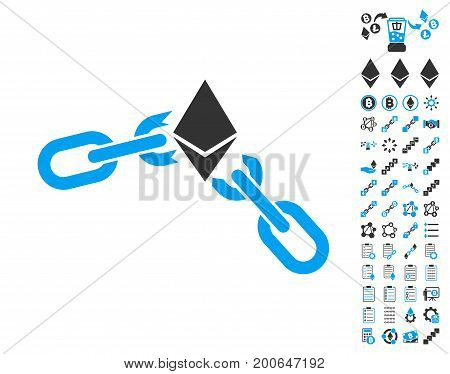 Ethereum Broken Chain pictograph with bonus smart contract pictograph collection. Vector illustration style is flat iconic symbols, modern colors.