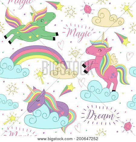 seamless pattern with magic unicorn  - vector illustration, eps