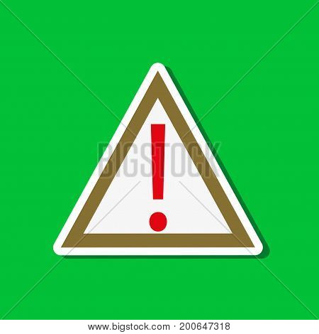 paper sticker on stylish background of attention sign