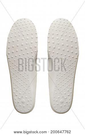 White hiking shoe insoles of trekking boot