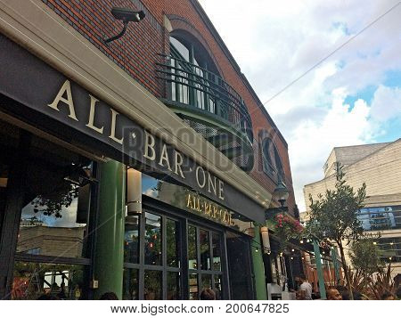 Birmingham, United Kingdom - August 5, 2017: All Bar One - Brindley Place, tourists and locals enjoying a summer evening