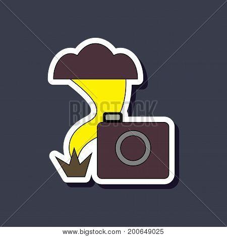 paper sticker on stylish background of tornado camera