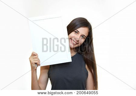 Woman hold white paper banner isolated over white background business girl