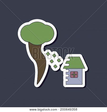 paper sticker on stylish background of tornado destruction house