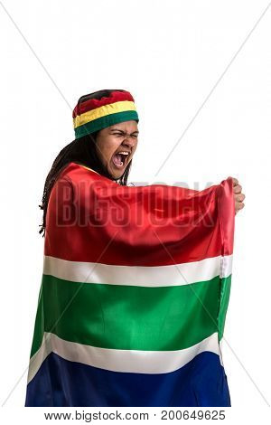 South African fan holding the national flag