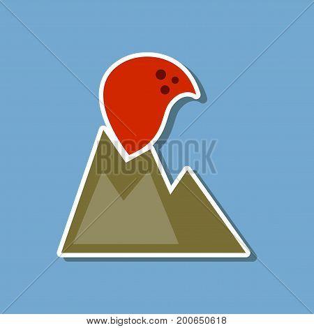 paper sticker on stylish background nature volcano erupting