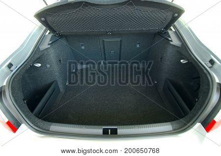 Empty trunk of the sedan, studio shot