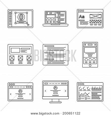 Icons collection. Outline illustrations. Wireframe of site, logo design, website development. Chart icon. Mobile symbol
