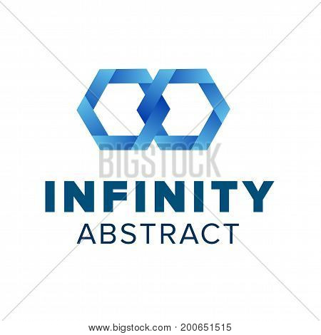 Beautiful infinity logo template design. Blue abstract symbol. Modern emblem for creative company