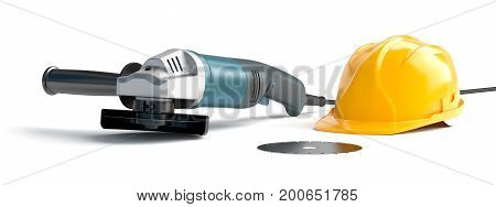 angle grinder and construction helmet on a white background, 3d illustration