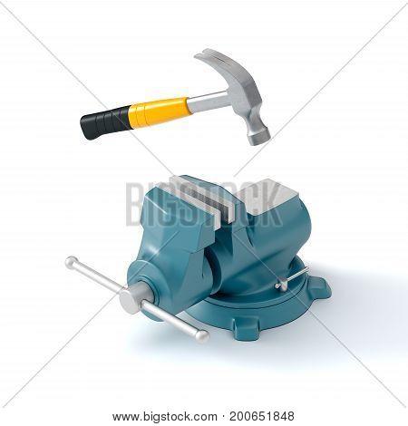 bench vise and hammer on white background, 3d illustration