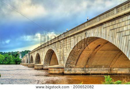 The Arlington Memorial Bridge across the Potomac River at Washington, D.C. United States