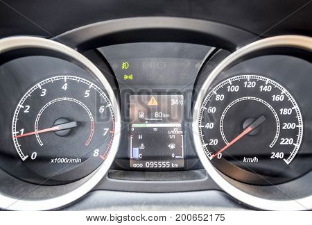The Instrument Panel Of The Car Is Out Of Motion. Modern Car Dashboard With Moving Arrows