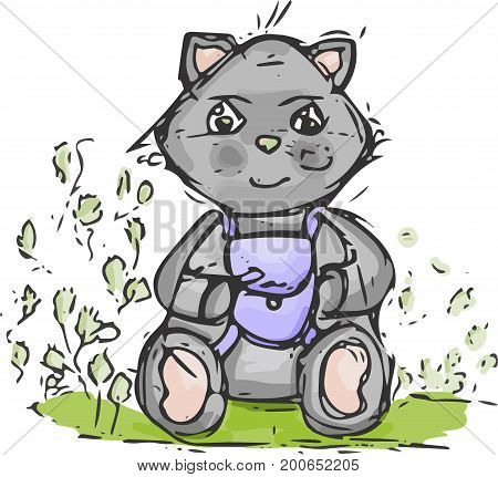 kitten in a campaign to nature.cat with backpack