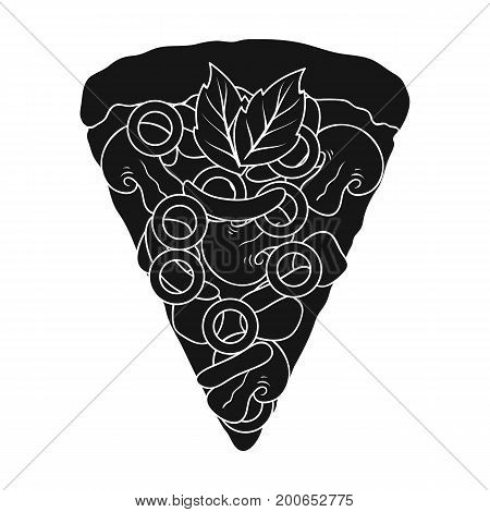 A slice of pizza with different ingredients. Different pizza single icon in black style vector symbol stock illustration .