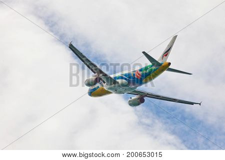 PHUKET , THAILAND- OCTOBER 21, 2013: Bangkok Airways plane takes off from Phuket International Airport. The company was established in 1968 under the name Sahakol Air