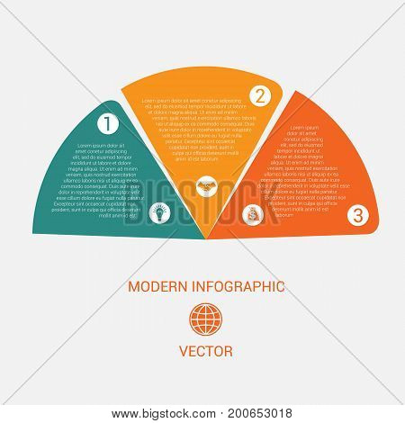 Business chart modern infographic vector template from color semicircle for 3 options business processes workflow diagram flowchart