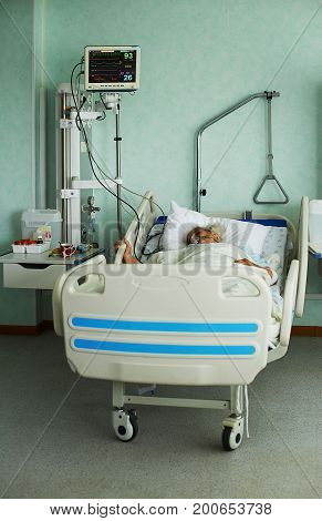 Patient in emergency treatment room in hospital