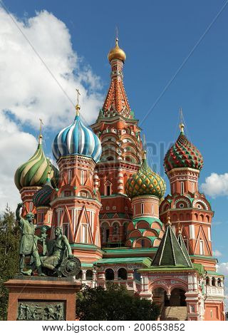 St Basil's cathedral with monument on Red Square, Moscow, Russia