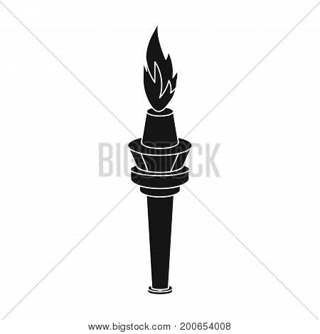 Street lamp in the form of a torch with an open fire.Lamppost single icon in black style vector symbol stock illustration .