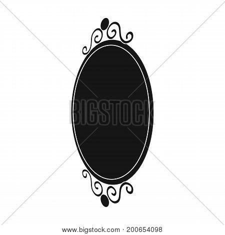 An elegant, oval-shaped mirror. Interior single icon in black style Isometric vector symbol stock illustration .