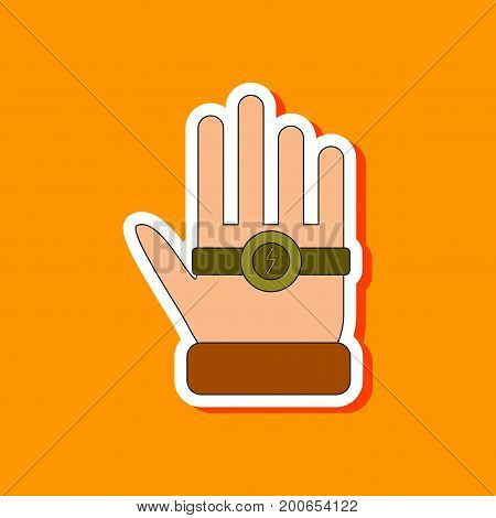 paper sticker on stylish background of Kids toy bracelet hand
